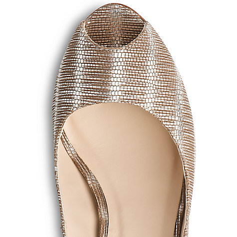 Buy L.K. Bennett Erica Leather Peep Toe Tejus Wedges, Metallics Online at johnlewis.com