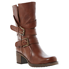 Buy Dune RockingT Buckle Detail Heeled Leather Calf Boot Online at johnlewis.com