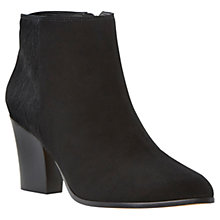 Buy Dune Nita Leather Heeled Ankle Boots, Black Suede Online at johnlewis.com