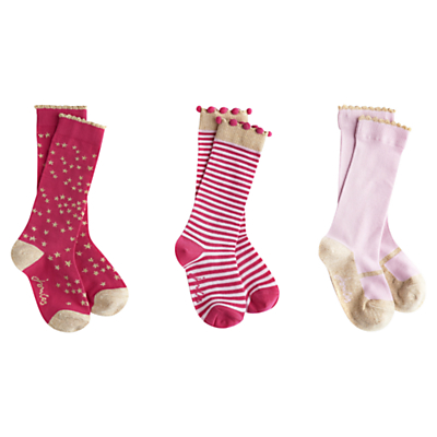 Little Joule Girl's Fairytale Socks, Pack of 3, Pink