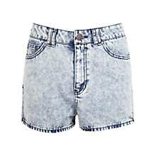 Buy Miss Selfridge Acid Wash High Waisted Shorts,  Light Wash Denim Online at johnlewis.com