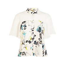 Buy Miss Selfridge Angel Sleeve Rose Shirt, White Online at johnlewis.com