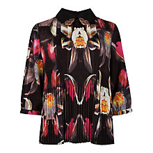 Buy Ted Baker Pleated Petal Print Top, Black Online at johnlewis.com