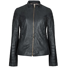 Buy Ted Baker Quilted Arm Leather Jacket, Grey Online at johnlewis.com