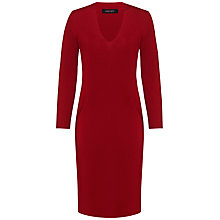 Buy Jaeger Merino V Neck Seam Dress, Cherry Online at johnlewis.com