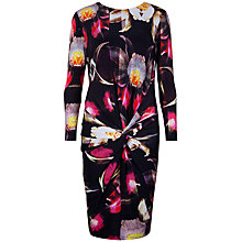 Buy Ted Baker Pleated Petal Print Dress, Black Online at johnlewis.com