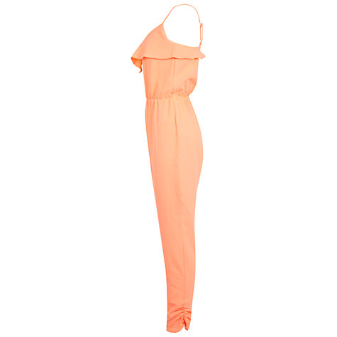 Buy Miss Selfridge Frill Jumpsuit, Coral Online at johnlewis.com
