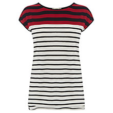 Buy Oasis Breton Stripe Tee, Red Online at johnlewis.com