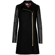 Buy Ted Baker Leather Sleeves Coat, Black Online at johnlewis.com