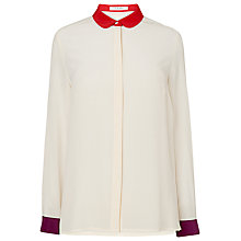 Buy L.K. Bennett Bursa Colour Block Silk Shirt, Cream Online at johnlewis.com