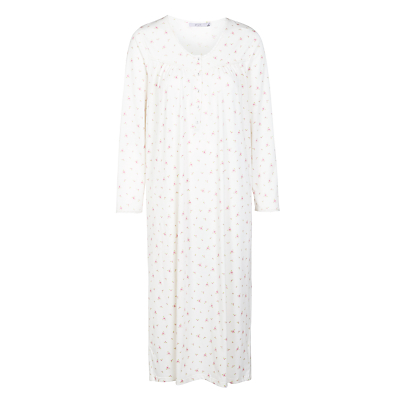John Lewis Floral Rose Long Sleeve Nightdress, Ivory / Eggshell