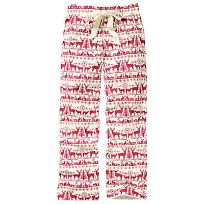 Fat Face Reindeer Jersey Pyjama Pants, Natural