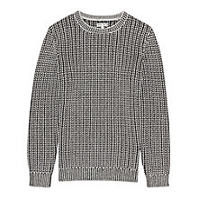 Buy Reiss Contrast Weave Jumper, Black Online at johnlewis.com