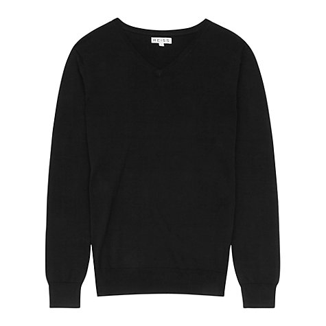 Buy Reiss Jude V-Neck Jumper, Black Online at johnlewis.com