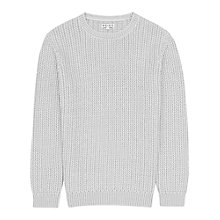 Buy Reiss Contrast Weave Jumper Cloned, Grey Online at johnlewis.com