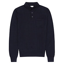 Buy Reiss Moorly Long Sleeve Polo Shirt, Black Online at johnlewis.com