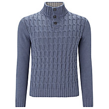Buy John Lewis Chunky Cable Knit Button Neck Jumper, Grey Online at johnlewis.com