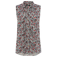 Buy Oasis Ditsy Print Sleeveless Shirt, Multi Online at johnlewis.com