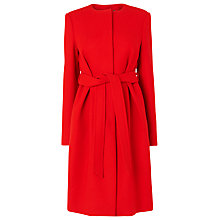 Buy L.K. Bennett Cadiz Collarless Wool Blend Coat, Scarlet Online at johnlewis.com