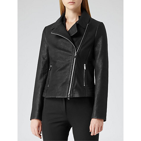 Buy Reiss Flutter Grained Leather Biker Jacket, Black Online at johnlewis.com