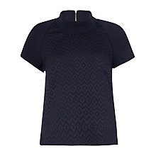 Buy Closet Jaquard Contrast Collar Top, Navy Online at johnlewis.com