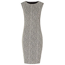 Buy Reiss Cindy Ann Textured Fitted Dress, Black/cream Online at johnlewis.com