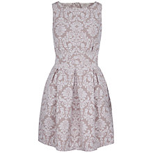 Buy Closet Jacquard Cut-Out Back Dress, Taupe Online at johnlewis.com