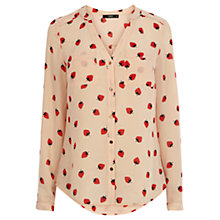 Buy Oasis Strawberry Piped Yoke Shirt, Neutral Online at johnlewis.com