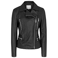 Buy Reiss Soft Leather Biker Jacket, Black Online at johnlewis.com