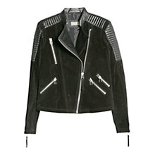 Buy Mango Mixed Leather Biker Jacket, Black Online at johnlewis.com