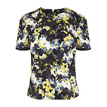 Buy Warehouse Dark Floral Abstract Top, Black Online at johnlewis.com