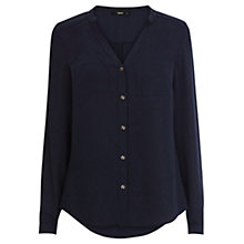 Buy Oasis Plain Piped Shirt, Navy Online at johnlewis.com