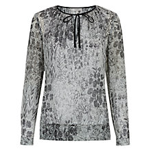 Buy Hobbs Tapestry Print Blouse, Black/Ivory Online at johnlewis.com
