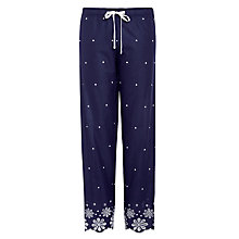 Buy John Lewis Dobby Embroidered Hem Pyjama Pants, Navy Online at johnlewis.com