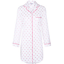 Buy John Lewis Spot Nightshirt, White / Pink Online at johnlewis.com