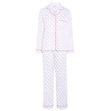 Buy John Lewis Spot Pyjama Set, White / Pink Online at johnlewis.com