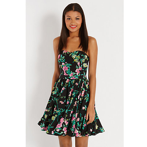 Buy Oasis Bandeau Cherry Blossom Dress, Multi Black Online at johnlewis.com