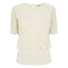 Buy Oasis Crop Lace T-shirt, Off White Online at johnlewis.com