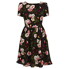 Buy Oasis Rose Print Skater Dress, Multi Black Online at johnlewis.com