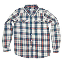Buy Polarn O. Pyret Boy's Line & Check Shirt, White/Blue Online at johnlewis.com
