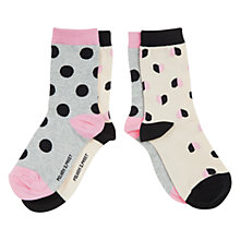 Buy Polarn O. Pyret Children's Heart and Spot Ankle Socks, Pack of 2, Pink/Multi Online at johnlewis.com