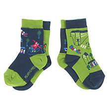 Buy Polarn O. Pyret Cityscape Socks, Pack of 2, Green Online at johnlewis.com