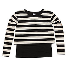 Buy Polarn O. Pyret Girl's Layer Smock Top, Black/White Online at johnlewis.com