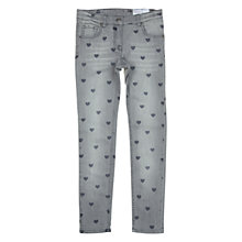 Buy Polarn O. Pyret Girl's Washed Heart Print Jeans, Grey Online at johnlewis.com