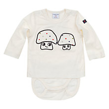 Buy Polarn O. Pyret Baby's Mushroom Bodysuit, White Online at johnlewis.com