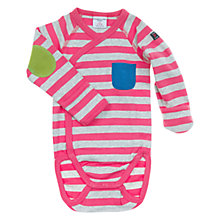 Buy Polarn O. Pyret Stripe Wraparound Bodysuit, Pink Online at johnlewis.com