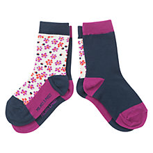 Buy Polarn O. Pyret Girls' Floral Colourblock Socks, Pack of 2, Charcoal Online at johnlewis.com
