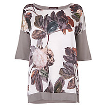 Buy Phase Eight Rowan Rose Print Jumper, Grey Online at johnlewis.com