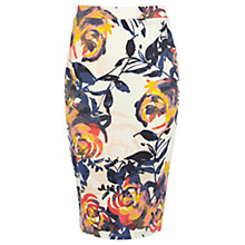 Buy Warehouse Floral Brushstroke Skirt, Cream Online at johnlewis.com