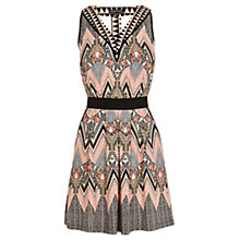 Buy Warehouse Engineered Tribal Skater Dress, Grey Online at johnlewis.com
